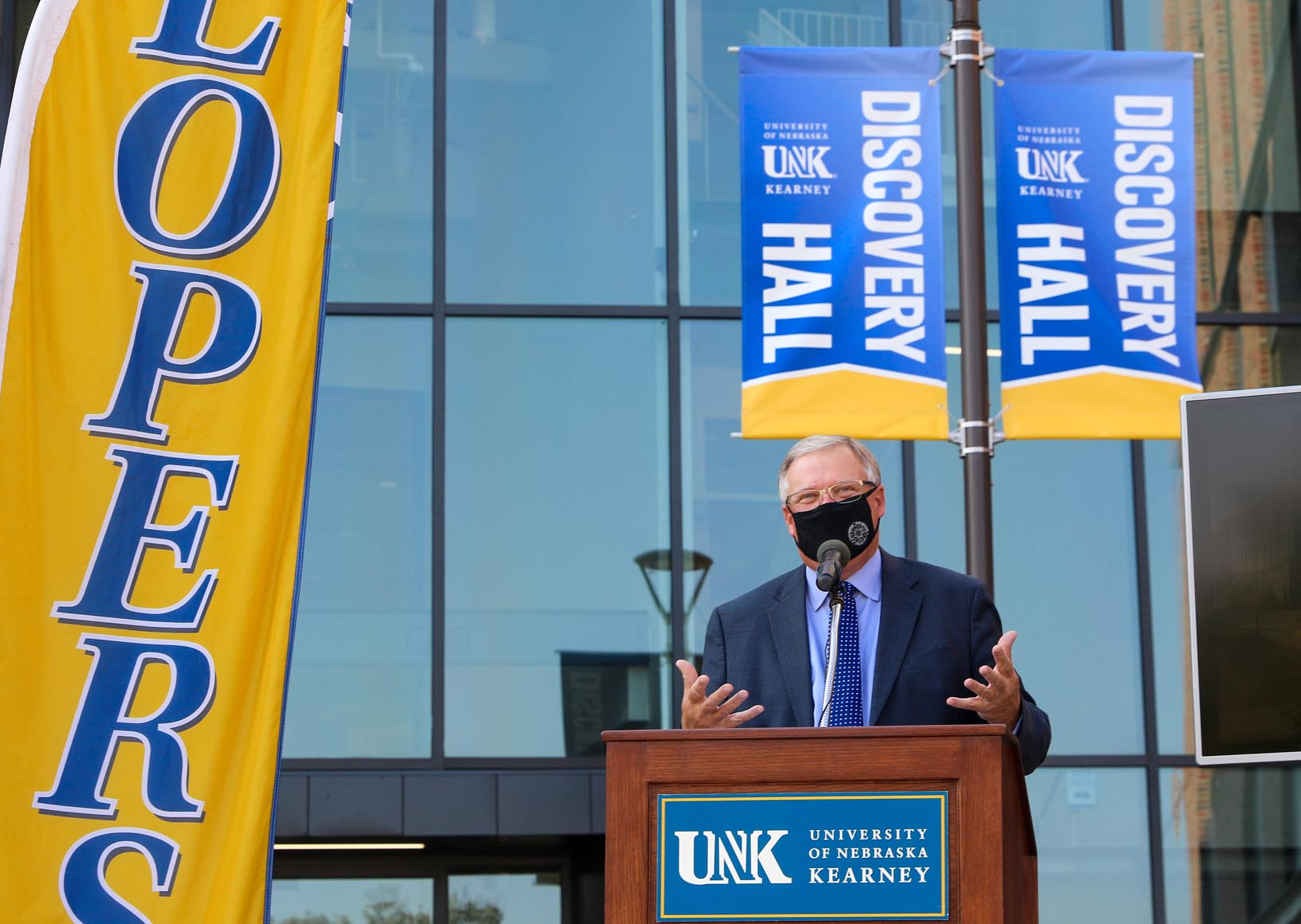 Chancellor Doug Kristensen speaks during Monday's ribbon-cutting ceremony celebrating the grand opening of Discovery Hall, a 90,000-square-foot STEM facility located on UNK's west campus. (Photos by Todd Gottula, UNK Communications)