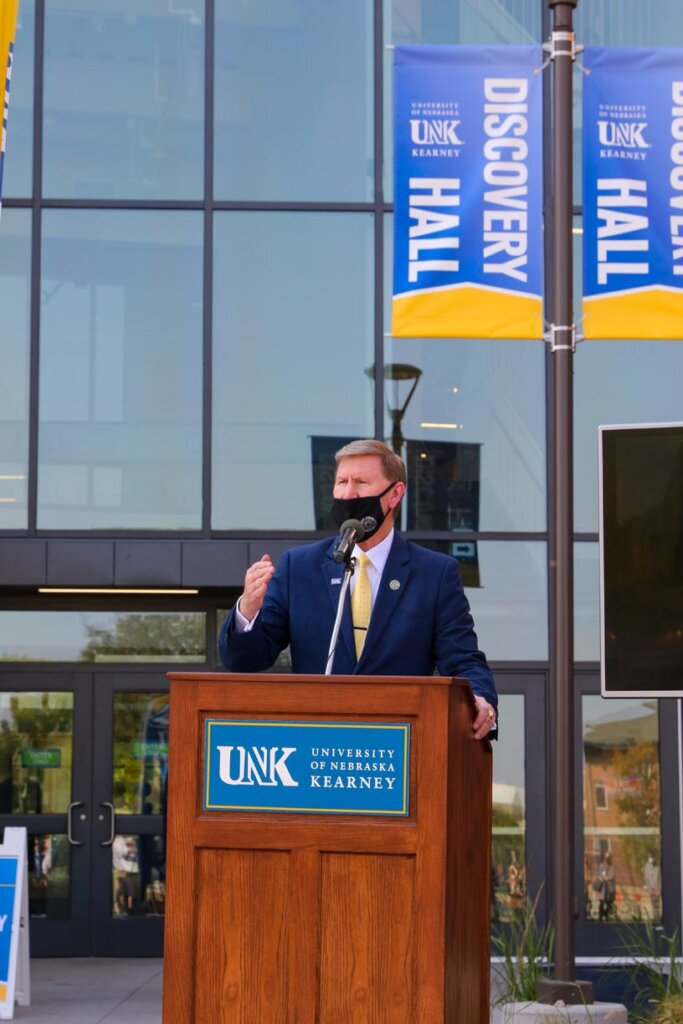 University of Nebraska President Ted Carter addresses the crowd Monday during a ribbon-cutting ceremony celebrating the grand opening of Discovery Hall.