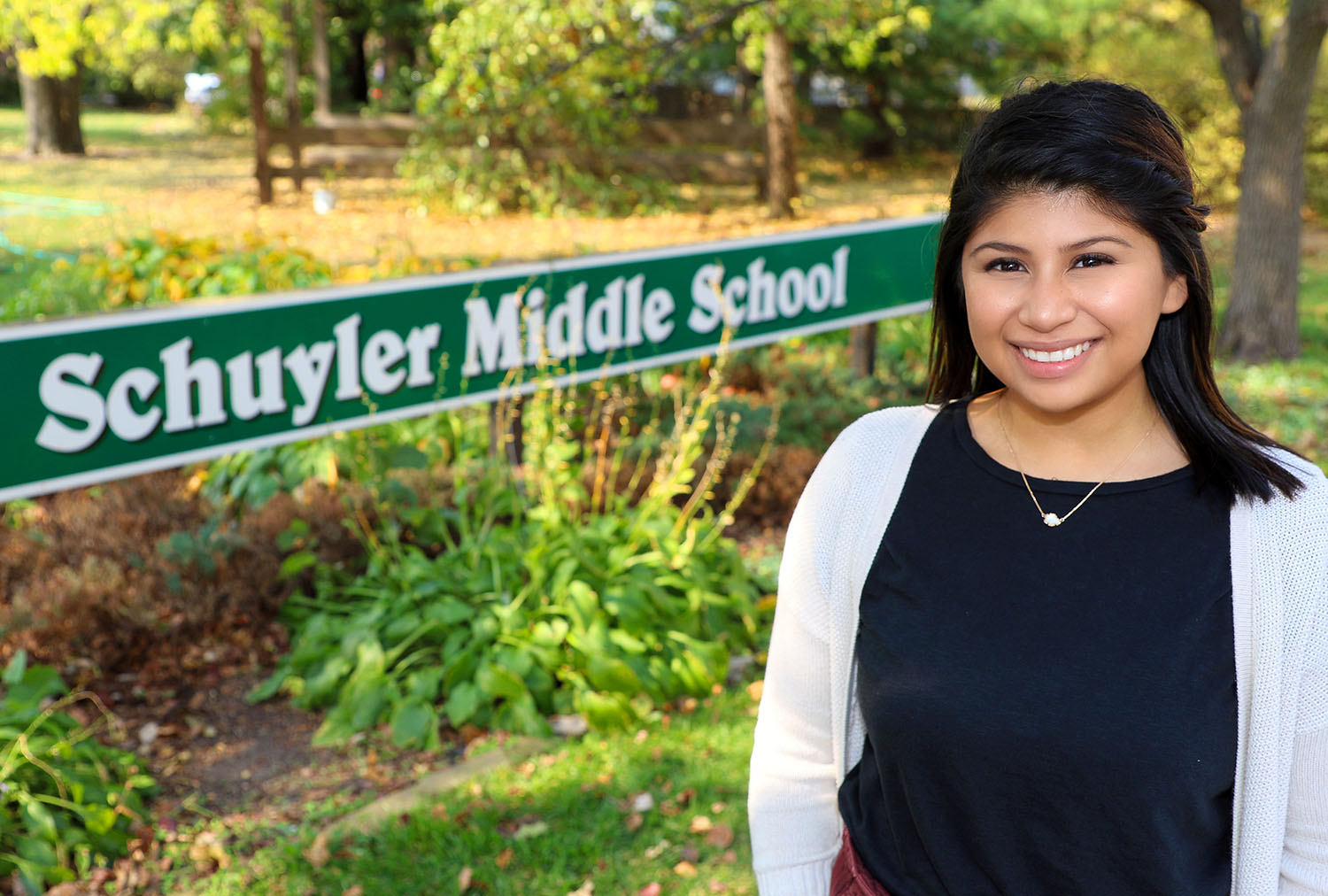 Odalys Cruz shares her love for learning with students at Schuyler Middle School. The 24-year-old returned to her hometown in 2018 after graduating from UNK.