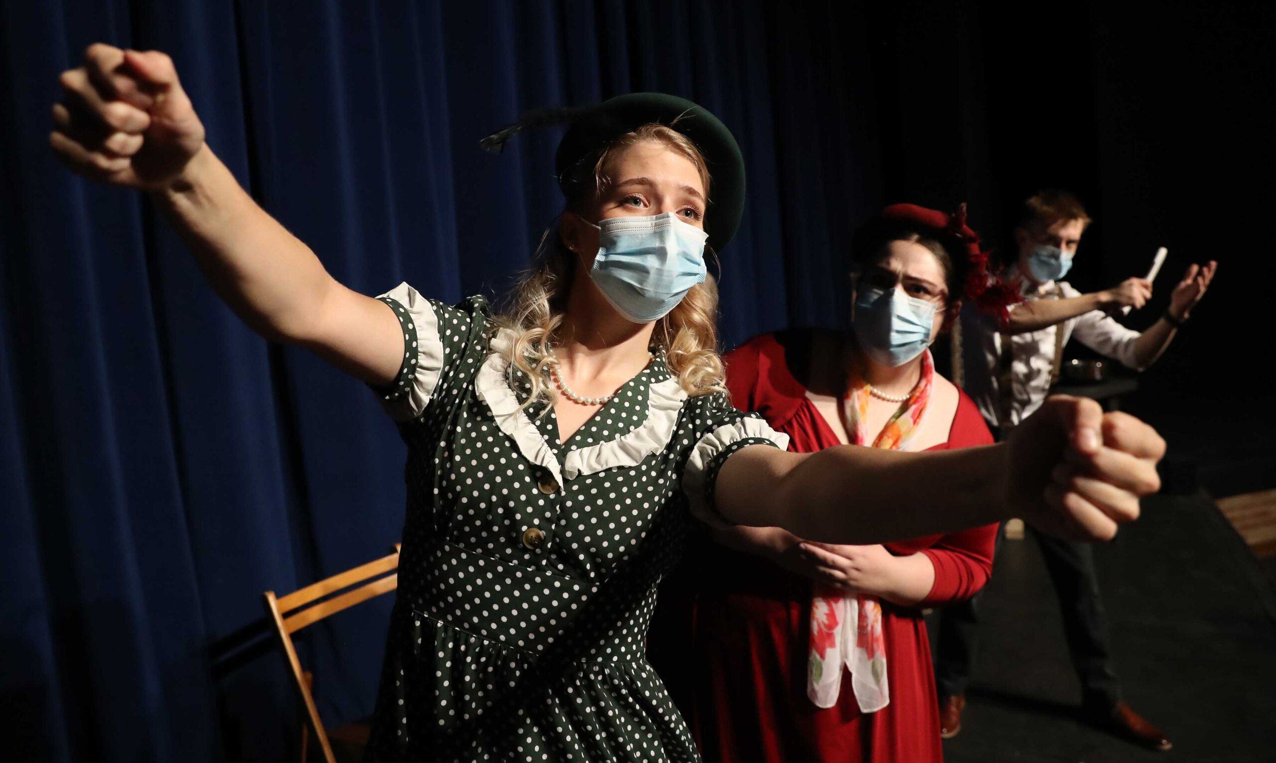 """Hannah Petersen portrays Miss Pinkerton in the UNK Opera Workshop production """"The Old Maid and the Thief."""""""