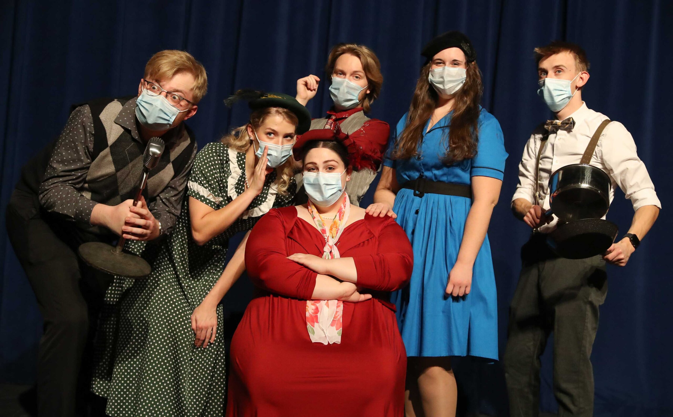 """From left, UNK students Will Frederick, Hannah Petersen, Terran Homburg, Maximus Wohler, Cassie Brown and Bryce Emde are part of the upcoming Opera Workshop production """"The Old Maid and the Thief."""" The live radio opera will be presented 2 p.m. Sunday on KLPR 91.1 FM and via livestream."""