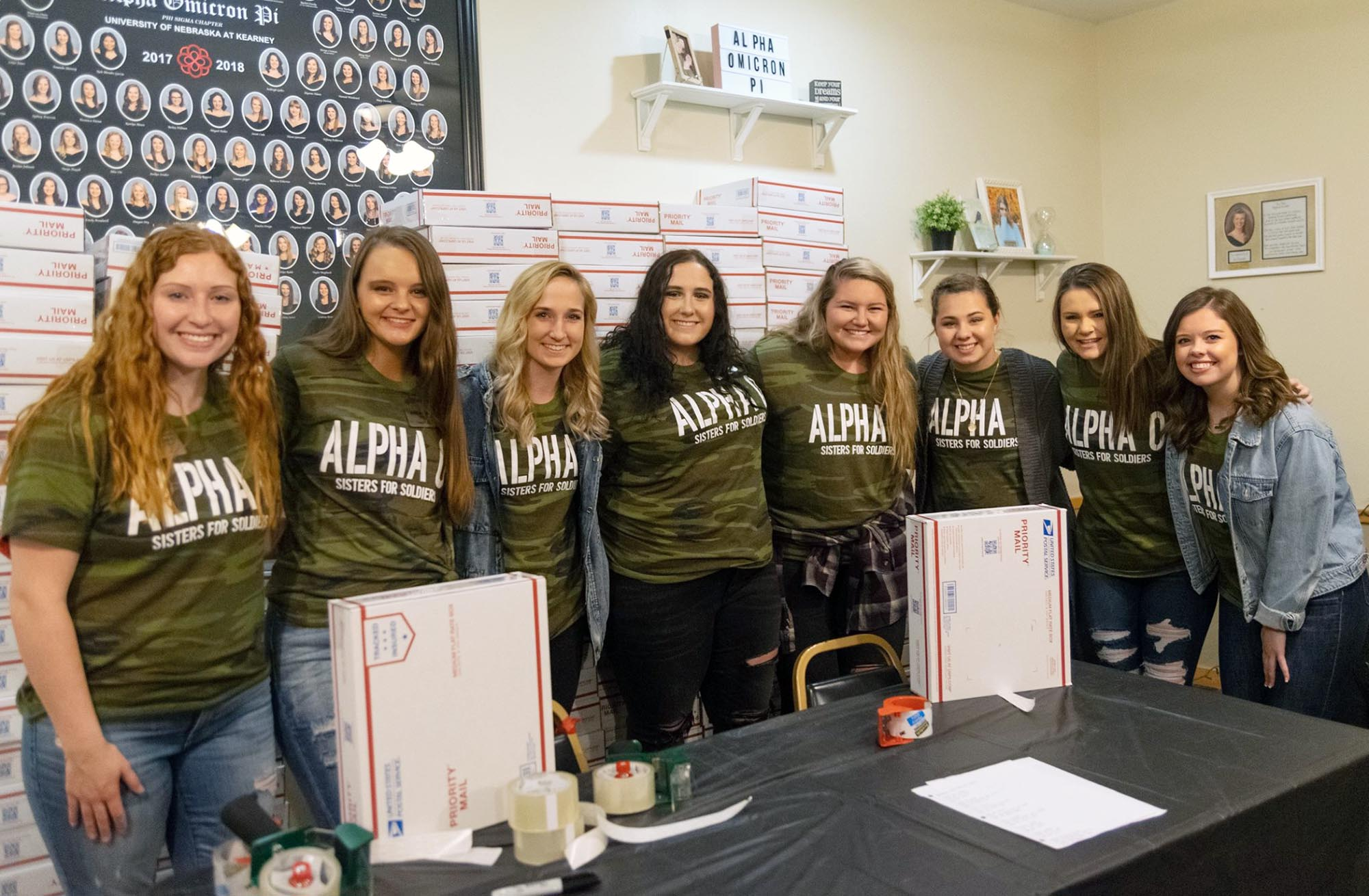 UNK's Alpha Omicron Pi sorority hopes to send 450 care packages to U.S. military members serving overseas through its Sisters for Soldiers project. (Courtesy photo)