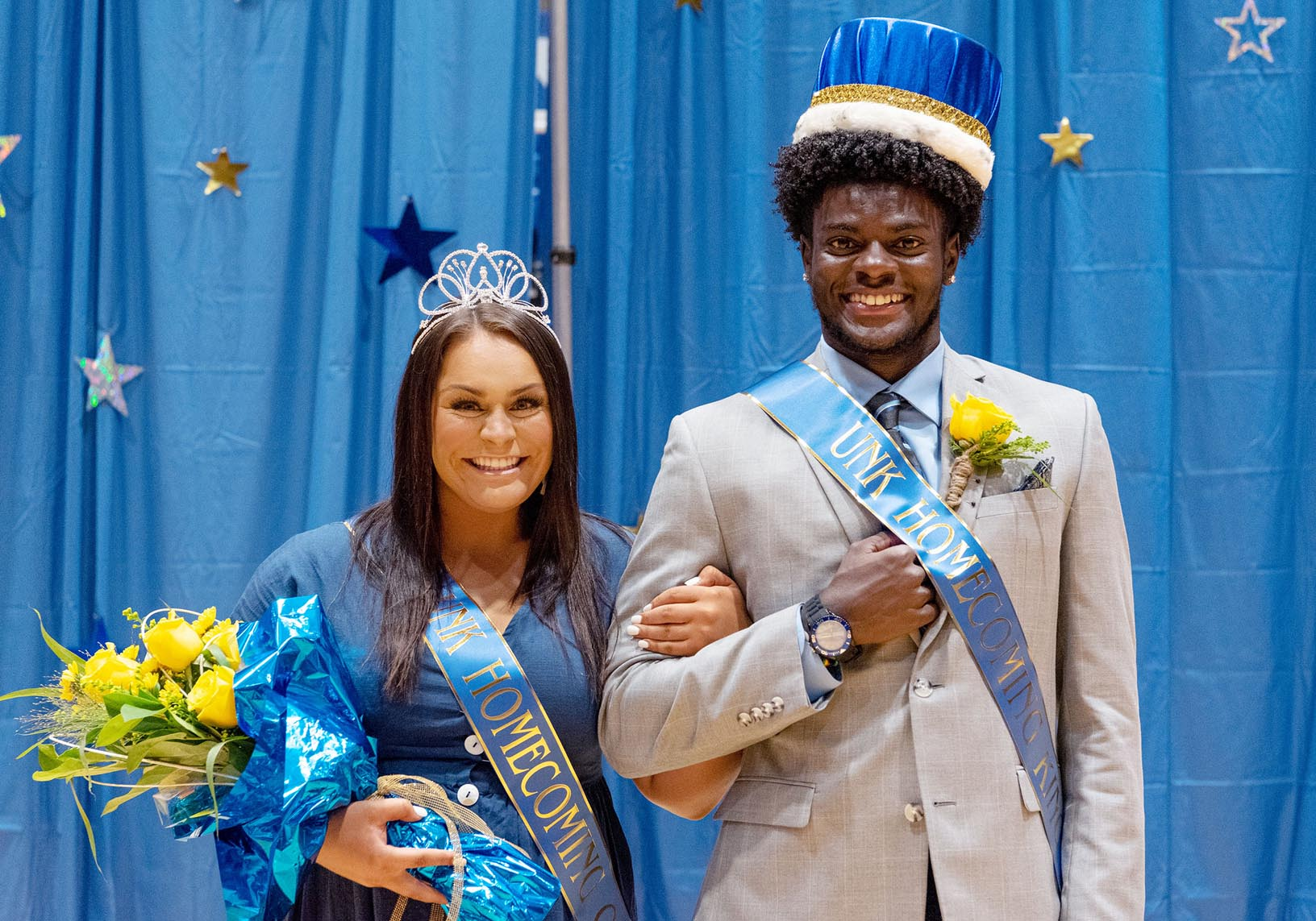 Fayth Jackson of Lincoln and Gabriel Amegatcher of Romeoville, Illinois, were crowned UNK homecoming queen and king during a ceremony Thursday evening.