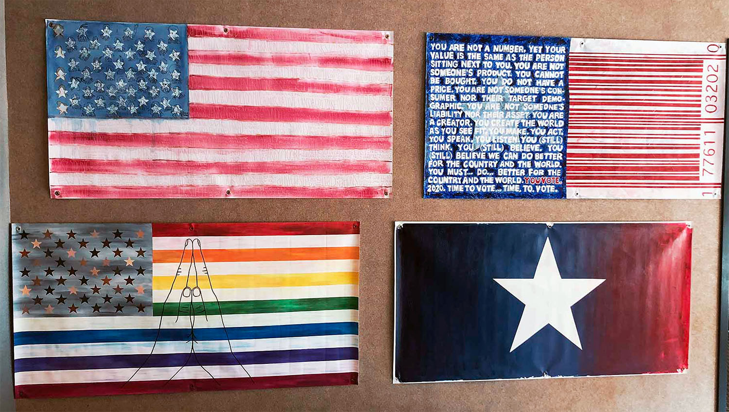 Artists from more than 30 states were selected to participate in the Unity Flag Project. Their works are currently on display in the Leu Center for the Visual Arts at Belmont University in Nashville. (Belmont University)