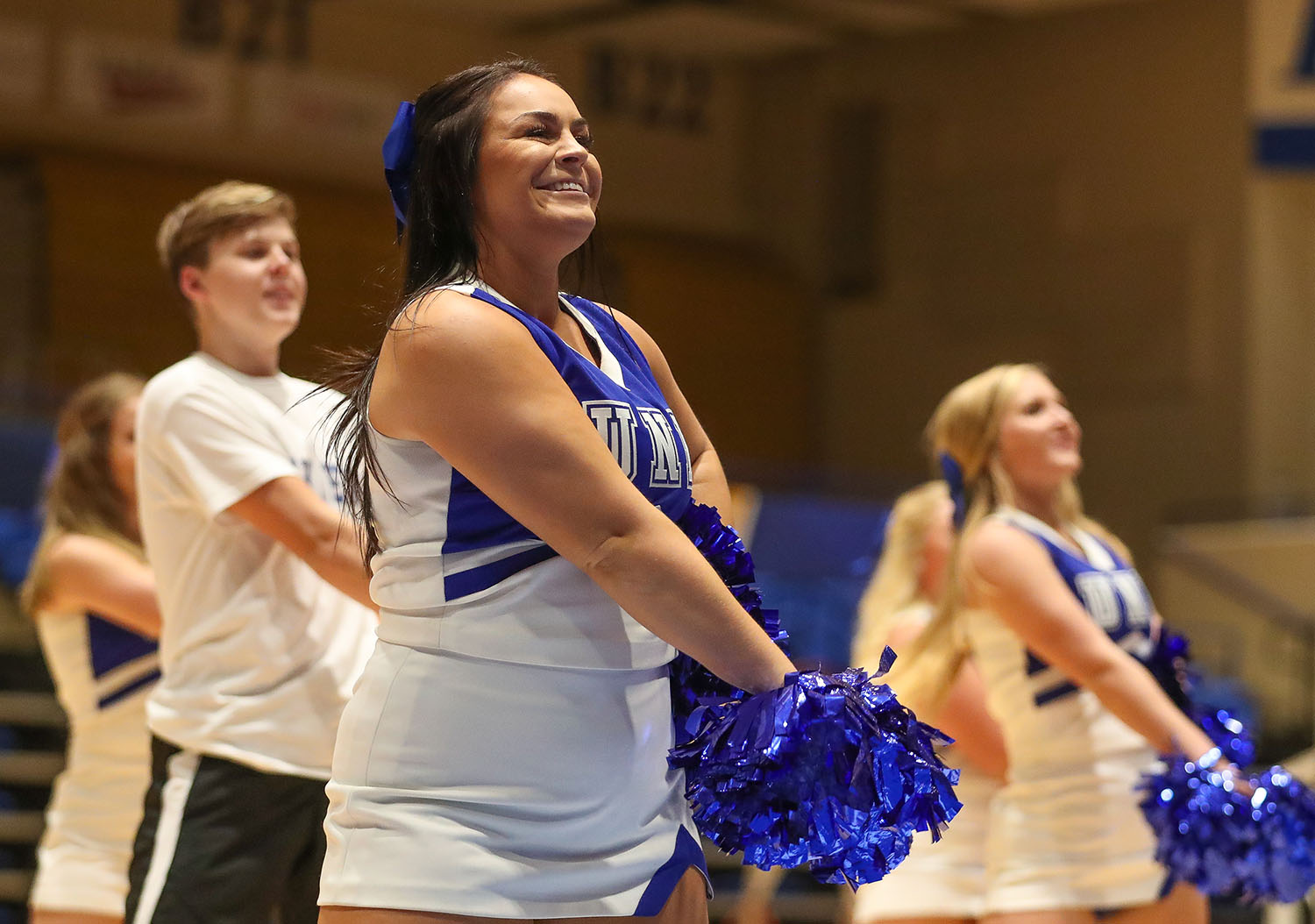 Fayth Jackson is active at UNK through the Loper cheer team and organizations such as the Gamma Phi Beta sorority and Student-Athlete Advisory Committee.