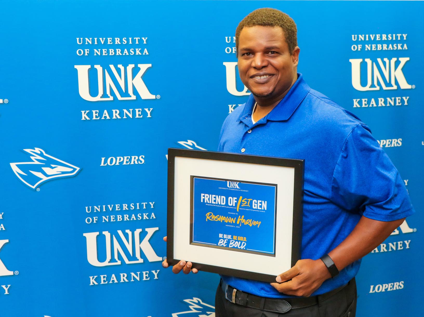 Rashawn Harvey, assistant director of TRIO Student Support Services, received UNK's Friend of First Gen Award, which recognizes a faculty or staff member who goes above and beyond to support first-generation students.
