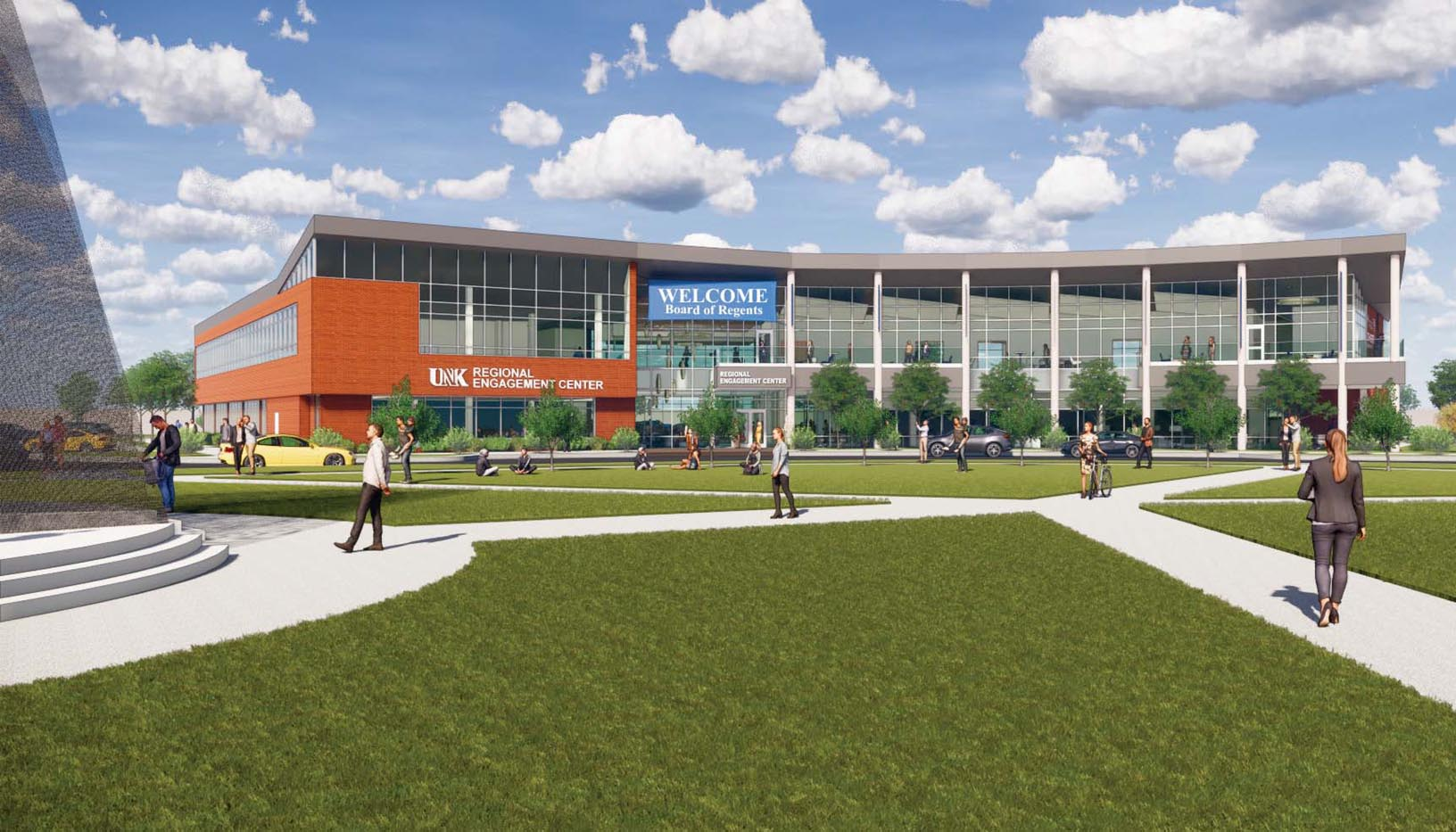 A 49,000-square-foot Regional Engagement and Alumni Center will be built on UNK's University Village development. The $15.6 million project is expected to be complete in summer 2022.