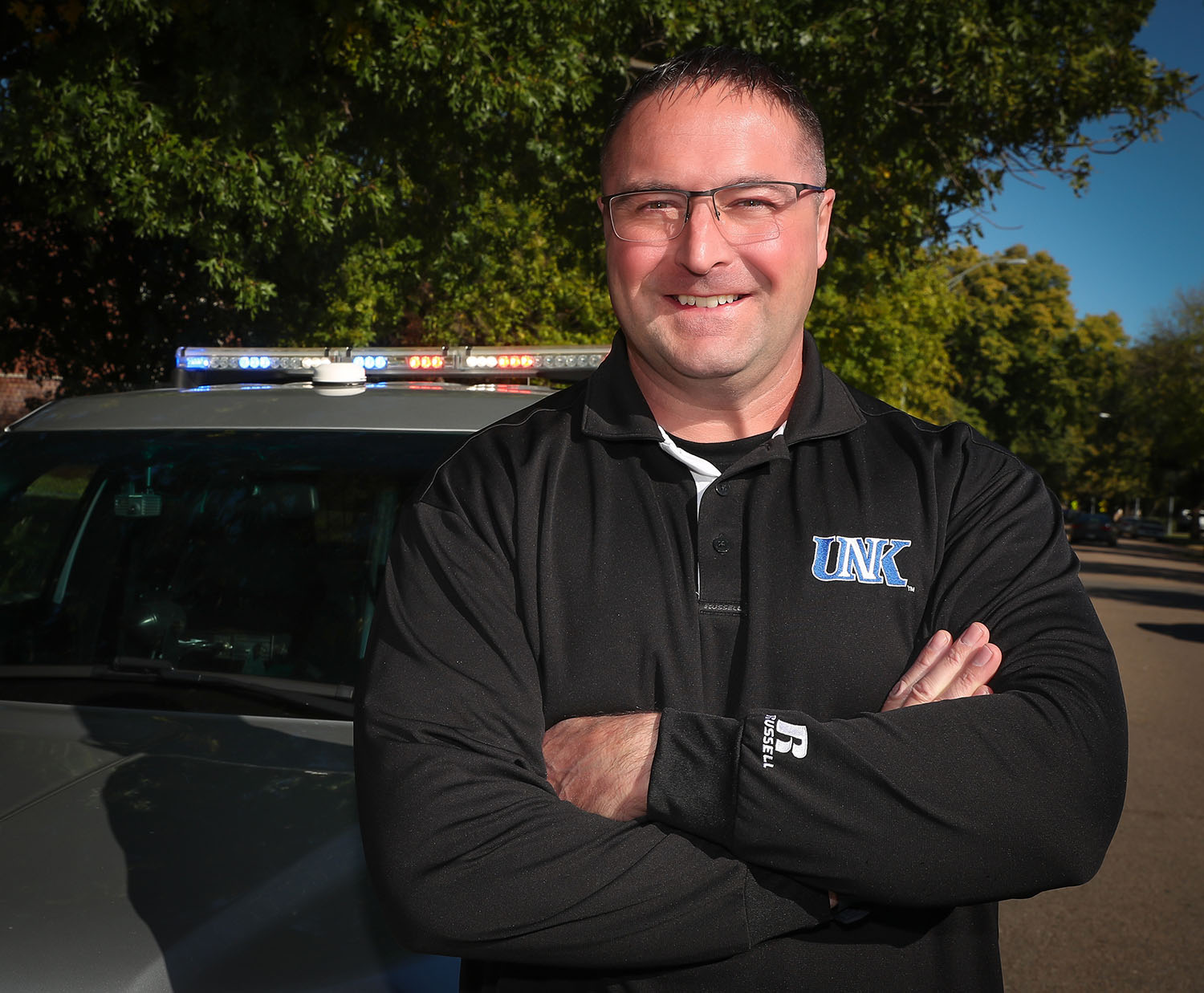 Kyle Harshbarger spent 24 years with Kearney Police Department before joining the UNK faculty in 2018. Earlier this year, he teamed up with UNK Police Chief Jim Davis to launch a program that offers continuing education at little to no cost for any Nebraska law enforcement agency.