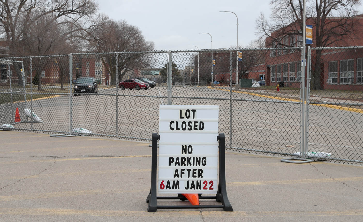 Lot 32 between Otto Olsen and Randall Hall is closed, effective immediately.