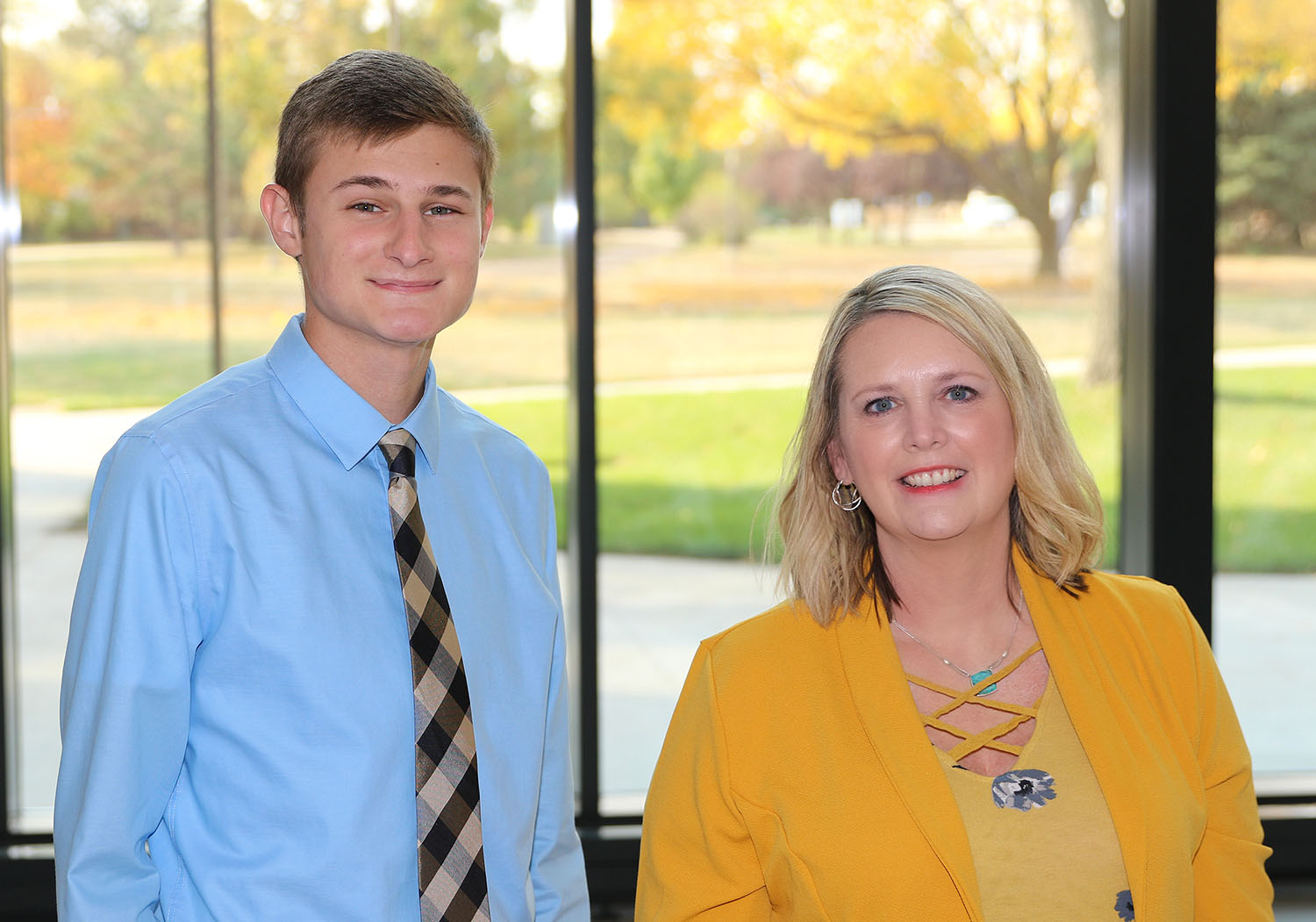 UNK's Office of Student and Family Transitions supports freshmen and transfer students through a variety of programming, services and involvement opportunities. UNK junior DJ Hardwick is a student coordinator in the office and Renae Zimmer is the assistant director.