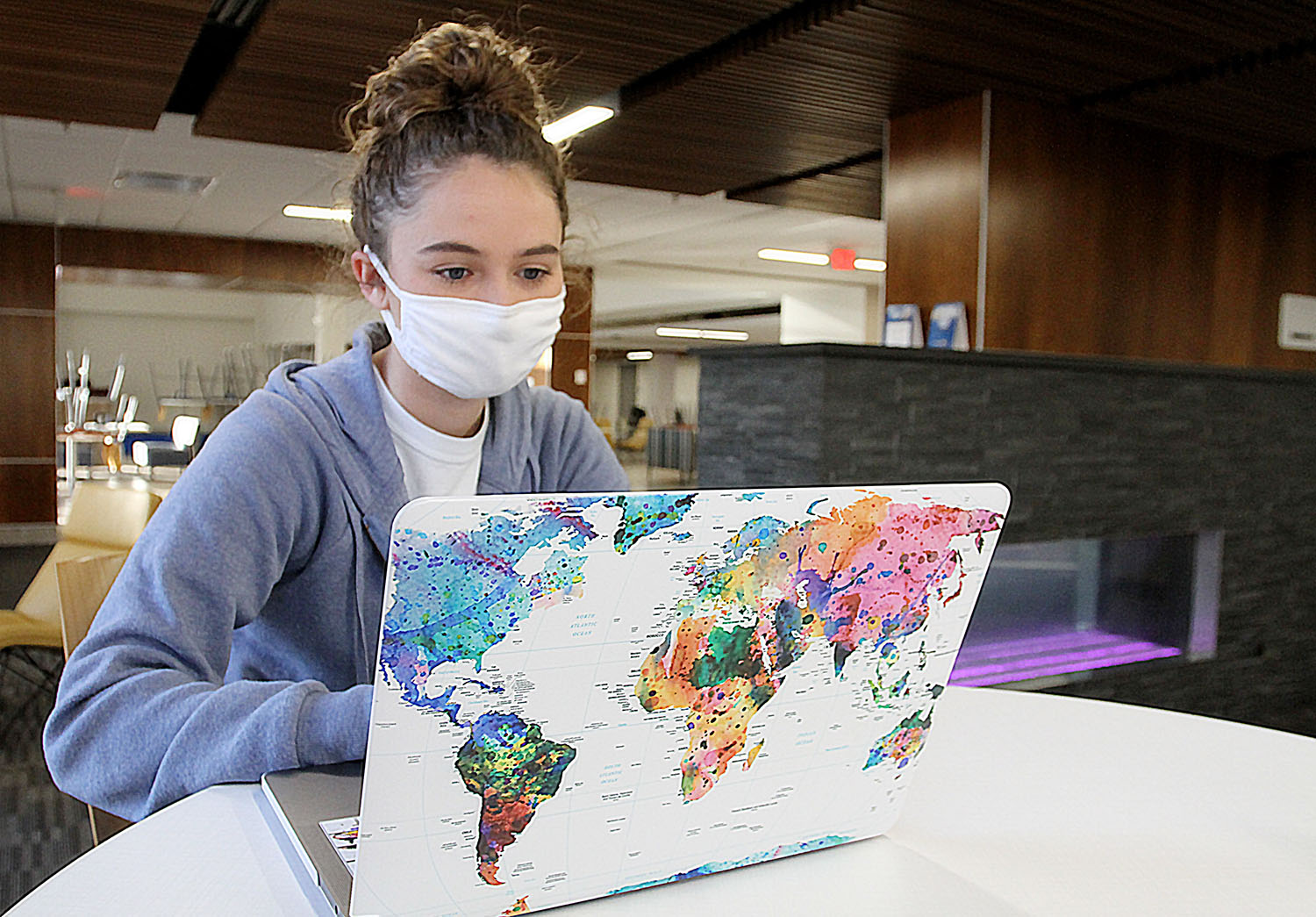 Sydney Atkinson, a business education major from Butte, is one of nearly 600 students enrolled in online courses or experiential learning opportunities during UNK's three-week January intersession.