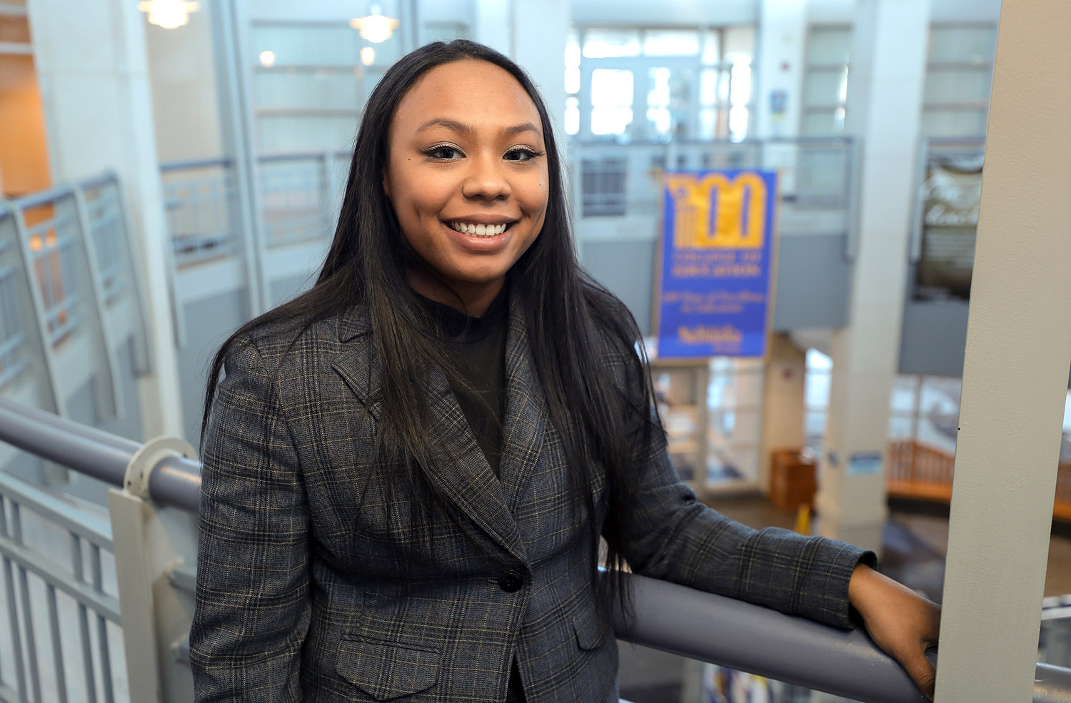 Asianna Harris is a master's student and graduate assistant in UNK's Department of Counseling and School Psychology, as well as a member of the College of Education's Diversity, Equity, Inclusion and Social Justice Committee. (Photo by Erika Pritchard, UNK Communications)