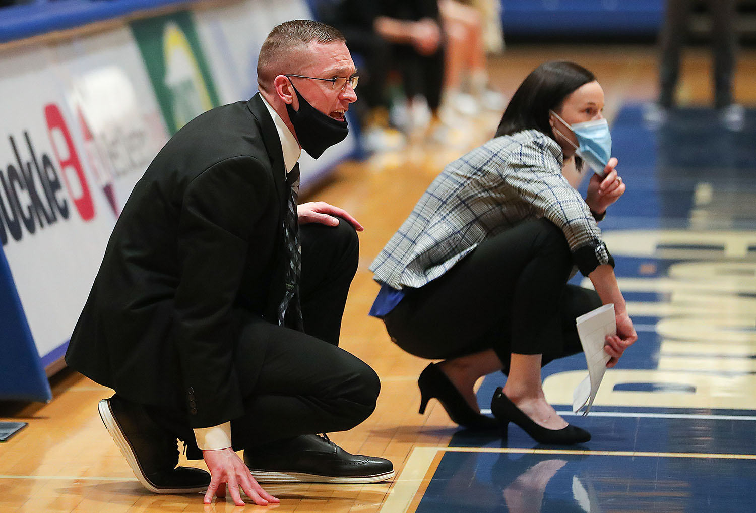 Devin and Carrie Eighmey lead the UNK women's basketball team during a Jan. 28 home game against Fort Hays State. The Lopers (16-2) are ranked 13th nationally in the WBCA Coaches Poll and 15th in the D2SIDA Media Poll.