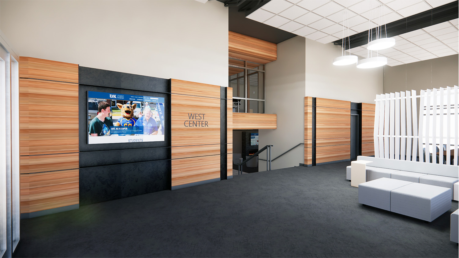 The West Center remodeling project will transform the east entrance into a modern lobby.
