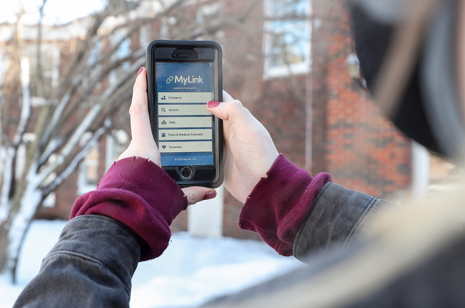 The MyLink app allows users to access information about a variety of services offered by nonprofit organizations and government agencies. (Photo by Erika Pritchard, UNK Communications)