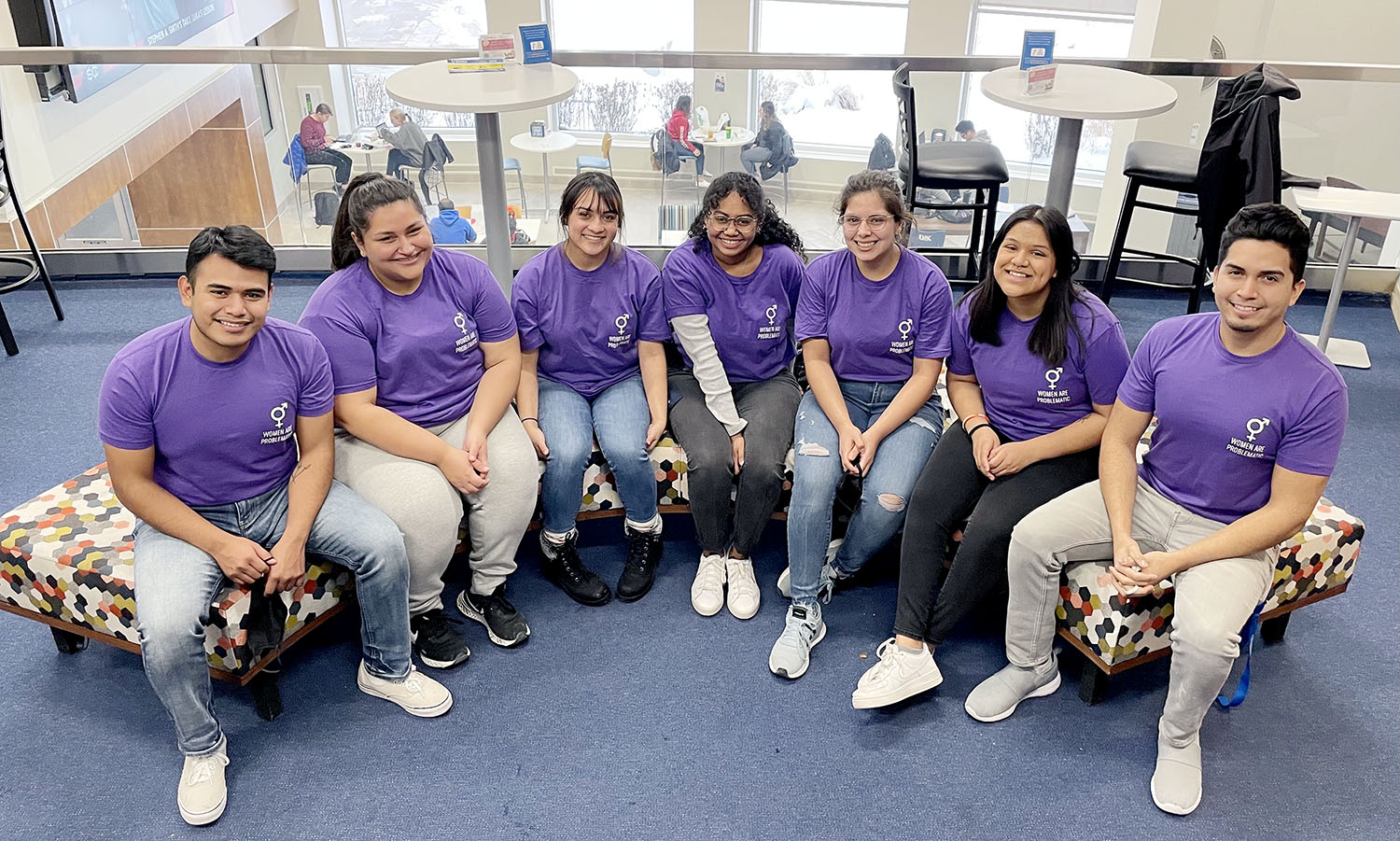 Women Are Problematic executive members are, from left, Gio Gonzalez, Molly Con, Earlen Gutierrez, Claudia Taylor, Lucia Castro Jacobo, Jackie Mendez and Javi Corpus Ochoa. Taylor is president of the UNK student organization, which focuses on women's rights and female empowerment.