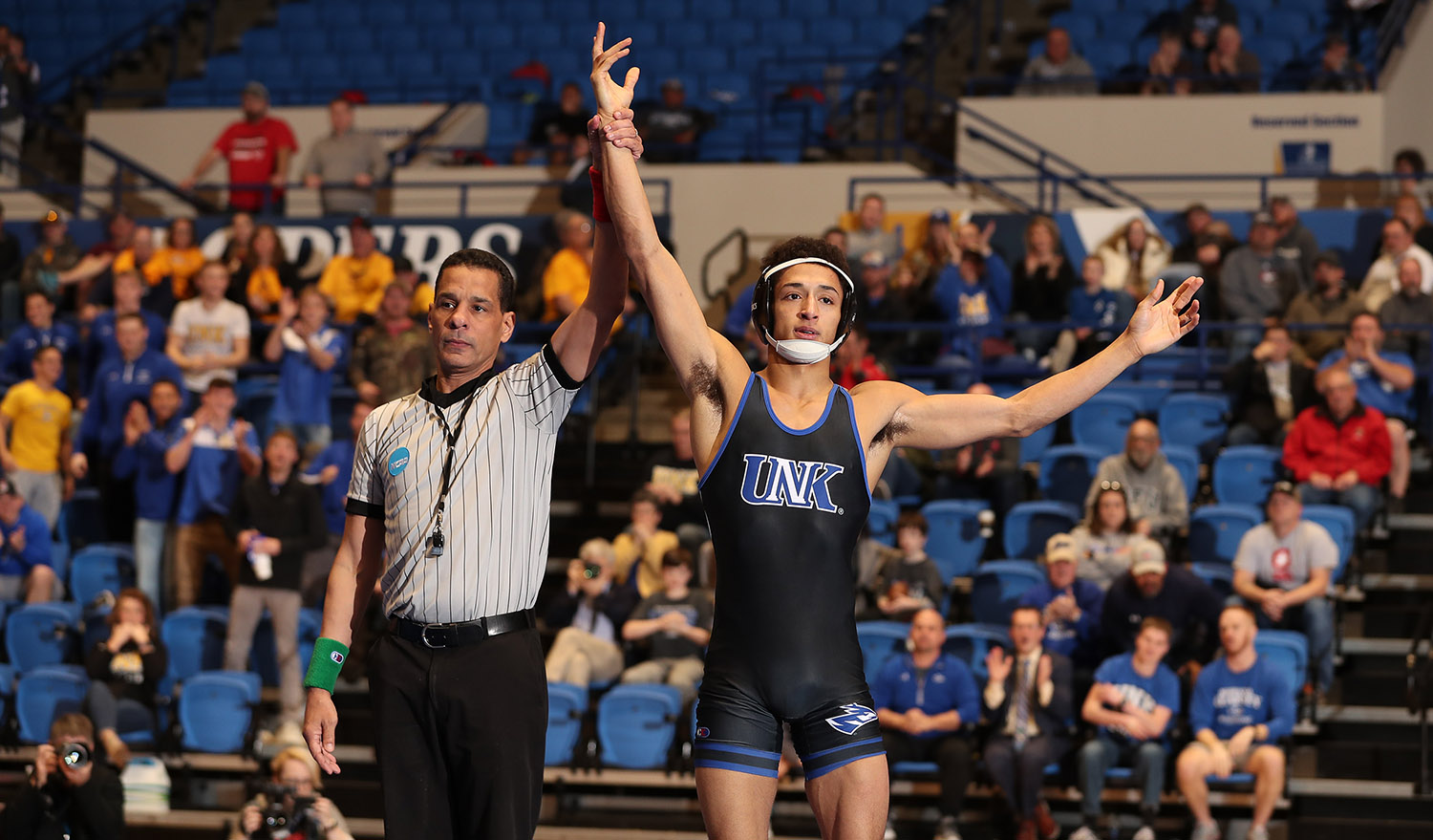 Wesley Dawkins, a redshirt senior from Lincoln, is 84-28 in his UNK wrestling career. The two-time All-American and 2019 national runner-up is seeded third at 133 pounds for this week's NCAA Division II Wrestling Championships. (Photo by Corbey R. Dorsey, UNK Athletics)