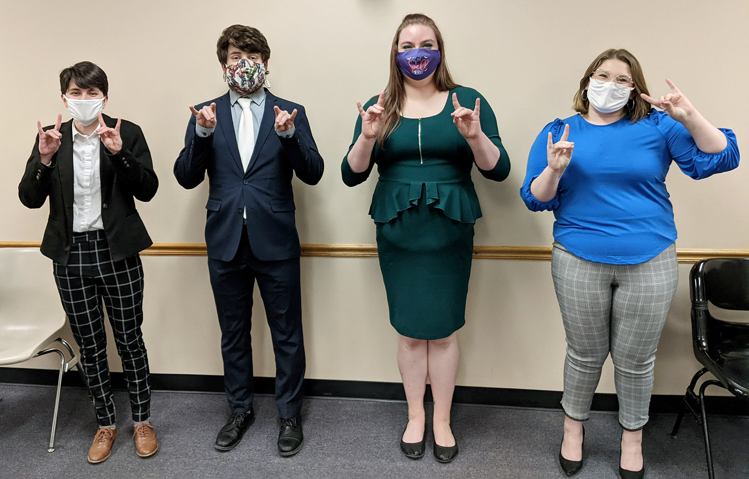 From left, UNK Forensics Team members Avery Dutton, Justin Machard, Jordan Delahunty and Darienne Blair will compete in the American Forensics Association National Speech Tournament. Dylan Hicks also qualified for the event. (Courtesy photo)