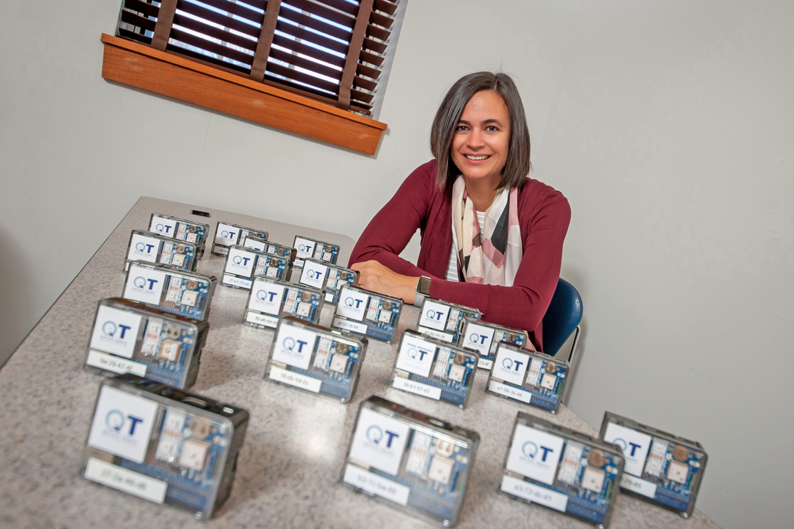 Angela Hollman, an associate professor in UNK's Department of Cyber Systems, developed a quantitative throughput (QT) unit to measure internet speeds at an individual location. The device collects 1,800 bandwidth readings over seven days.