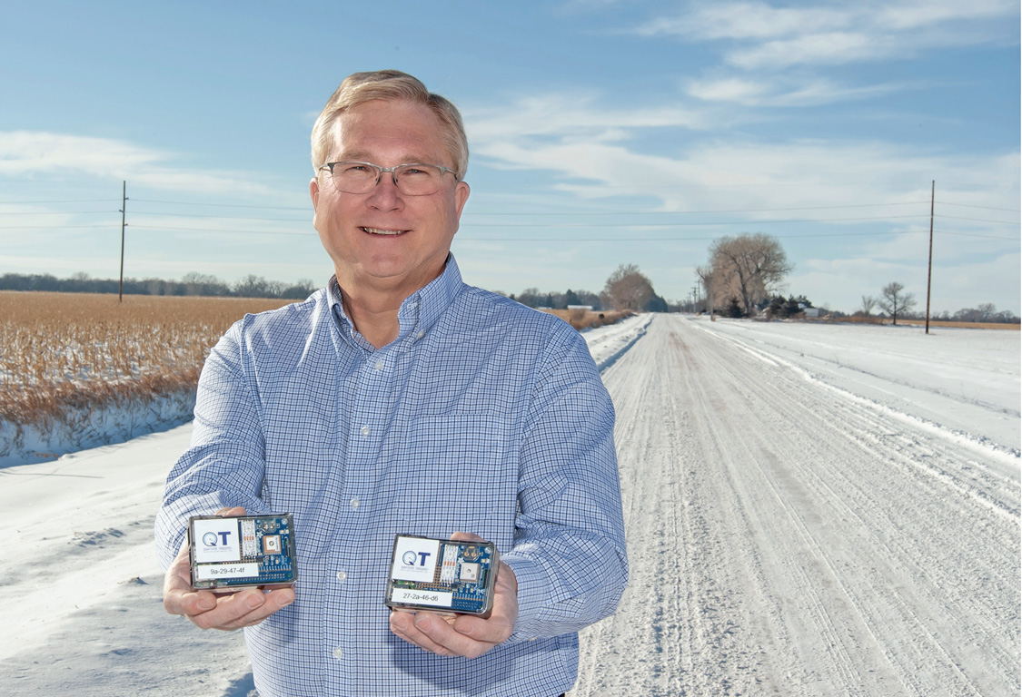 UNK professor Tim Obermier displays the devices used to collect bandwidth readings through the Rural Measures project, which was launched by Obermier and UNK associate professor Angela Hollman to more accurately measure internet speeds in rural Nebraska.