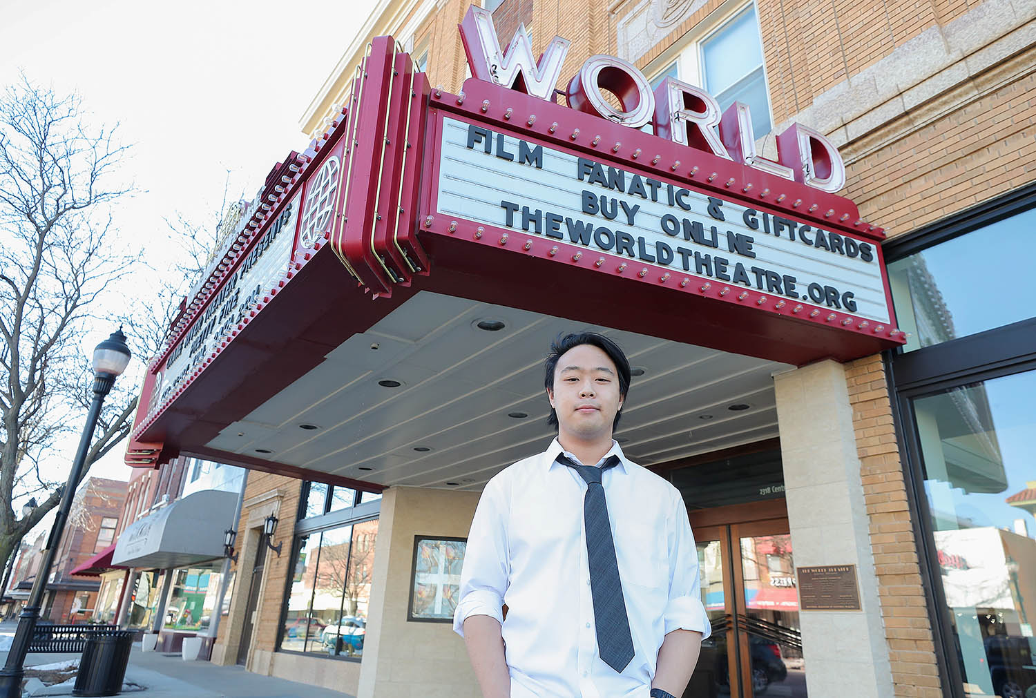 """Ryan Range's documentary, """"When The World Closed,"""" highlights The World Theatre's impact on Kearney and the community effort that helped the historic movie house get through the COVID-19 pandemic. (Photo by Erika Pritchard, UNK Communications)"""