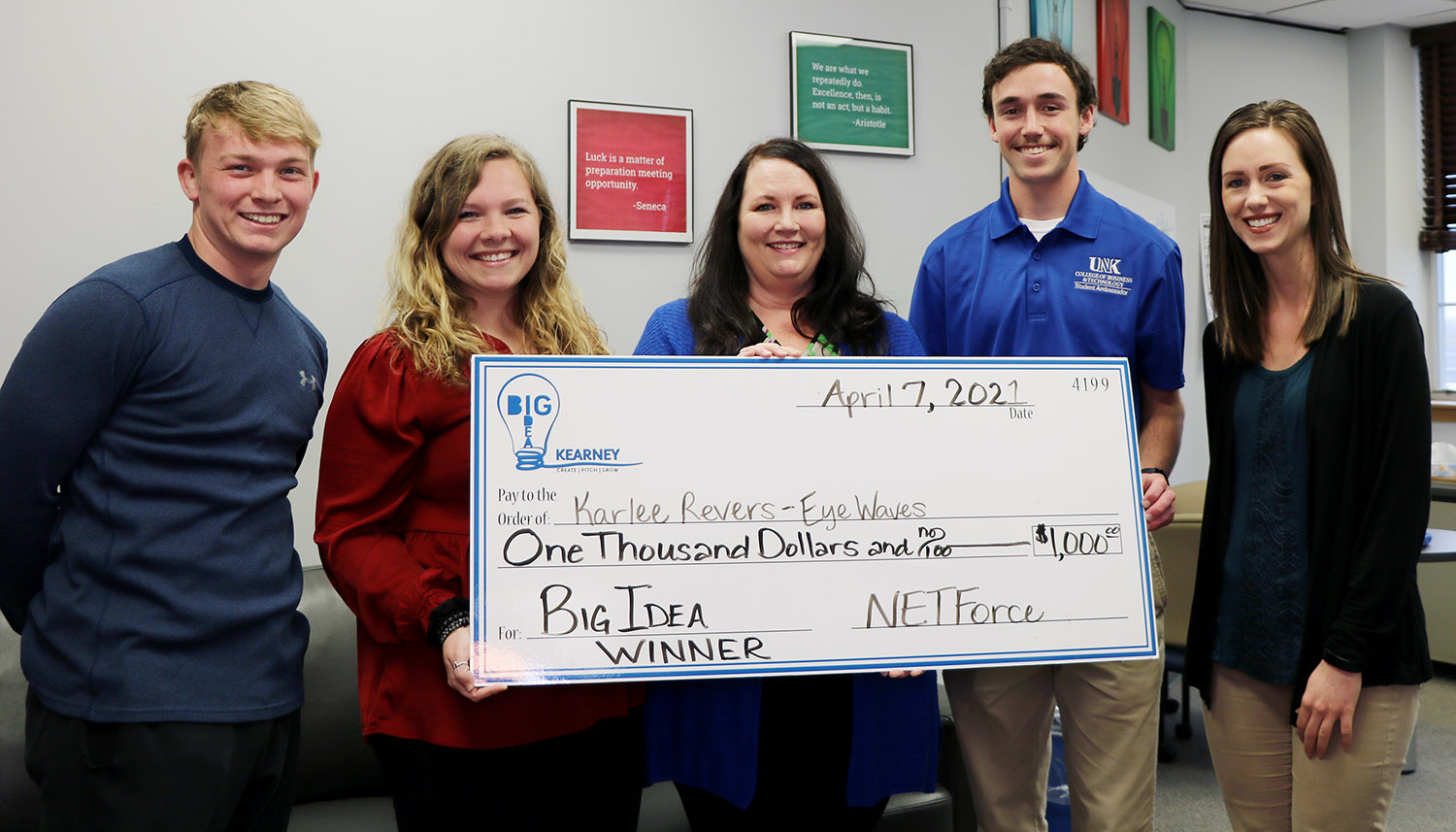Fifty students from across the state participated in the Big Idea Nebraska High School Competition organized by the University of Nebraska at Kearney's Center for Entrepreneurship and Rural Development. Members of the Center for Entrepreneurship and Rural Development team are, from left, student employee Max Revers, graduate assistant Samantha Dennison, Director Lisa Tschauner, student ambassador Justin Vrooman and Assistant Director Aliese Hoffman.