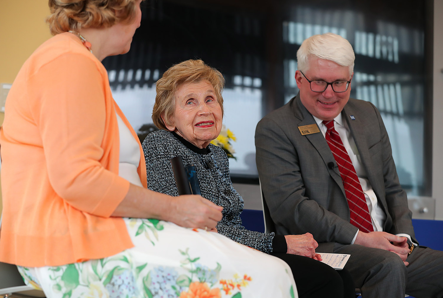 LaVonne Kopecky Plambeck, center, is pictured with fellow Early Childhood Pioneer Award recipient Roxanne Vipond and UNK College of Education Dean Mark Reid during Thursday evening's ceremony at the Plambeck Early Childhood Education Center.