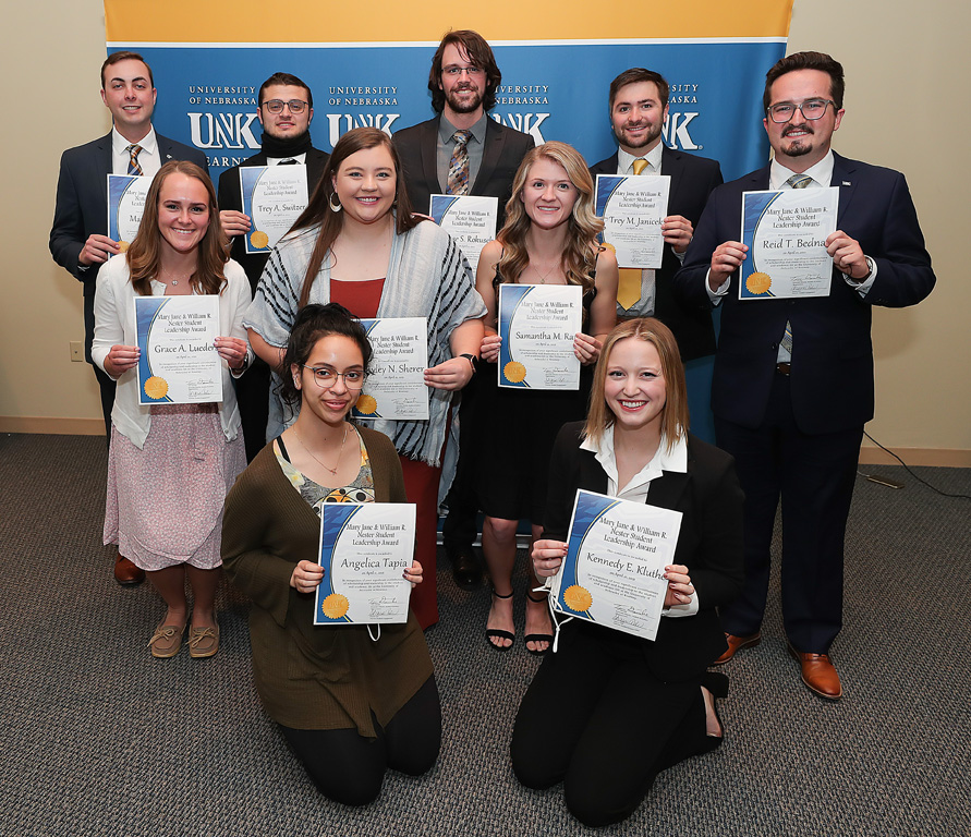 The recipients of this year's Mary Jane and William R. Nester Student Leadership Awards are, back row from left, Max Beal of Kenesaw, Trey Switzer of Gretna, Blase Rokusek of Hartington and Trey Janicek of Bridgeport; middle row from left, Grace Lueders of Blair, Ryley Scherer of Omaha, Samantha Rau of Lincoln and Reid Bednar of Grand Island; and, front row from left, Angelica Tapia of Lexington and Kennedy Kluthe of Kearney. (Photo by Erika Pritchard, UNK Communications)
