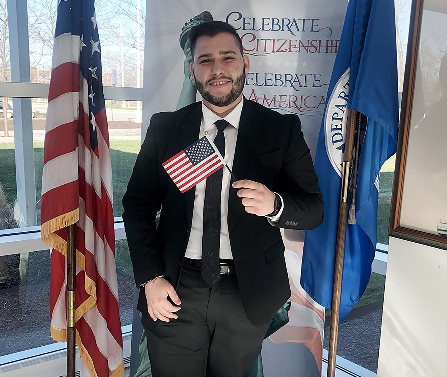 UNK junior Adrian Almeida received his U.S. citizenship April 1 during a ceremony in Omaha.