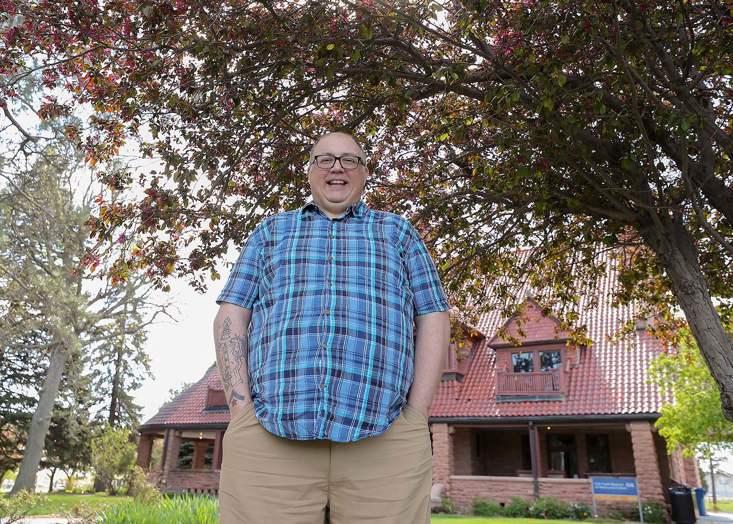 Sonny O'Connor would like to pursue a master's degree in history through UNK and eventually work for a museum. He's pictured in front of the G.W. Frank Museum of History and Culture on the UNK campus. (Photo by Erika Pritchard, UNK Communications)
