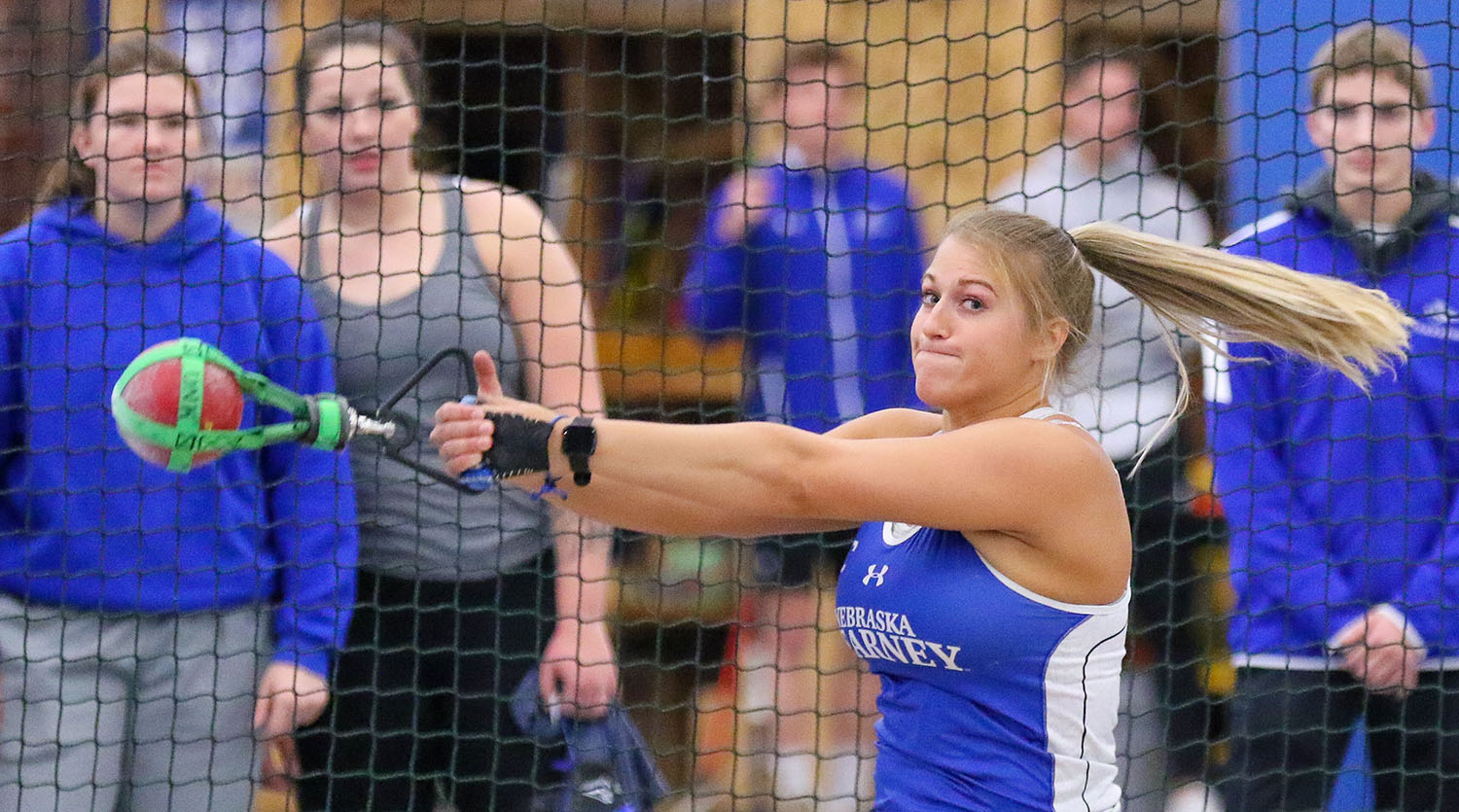 Tiara Schmidt holds the UNK record in the indoor weight throw with a toss of 63 feet, 1 1/2 inches. That's more than 3 feet farther than second place.