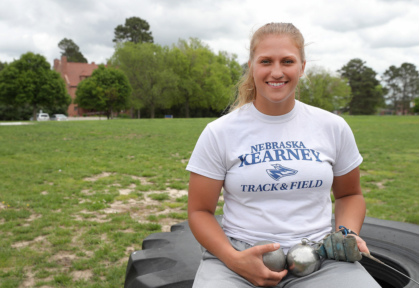 Tiara Schmidt, a recent UNK graduate, qualified for the NCAA Division II Outdoor Track and Field Championships in both the hammer throw and shot put. The three-day event begins Thursday at Grand Valley State University in Allendale, Michigan.