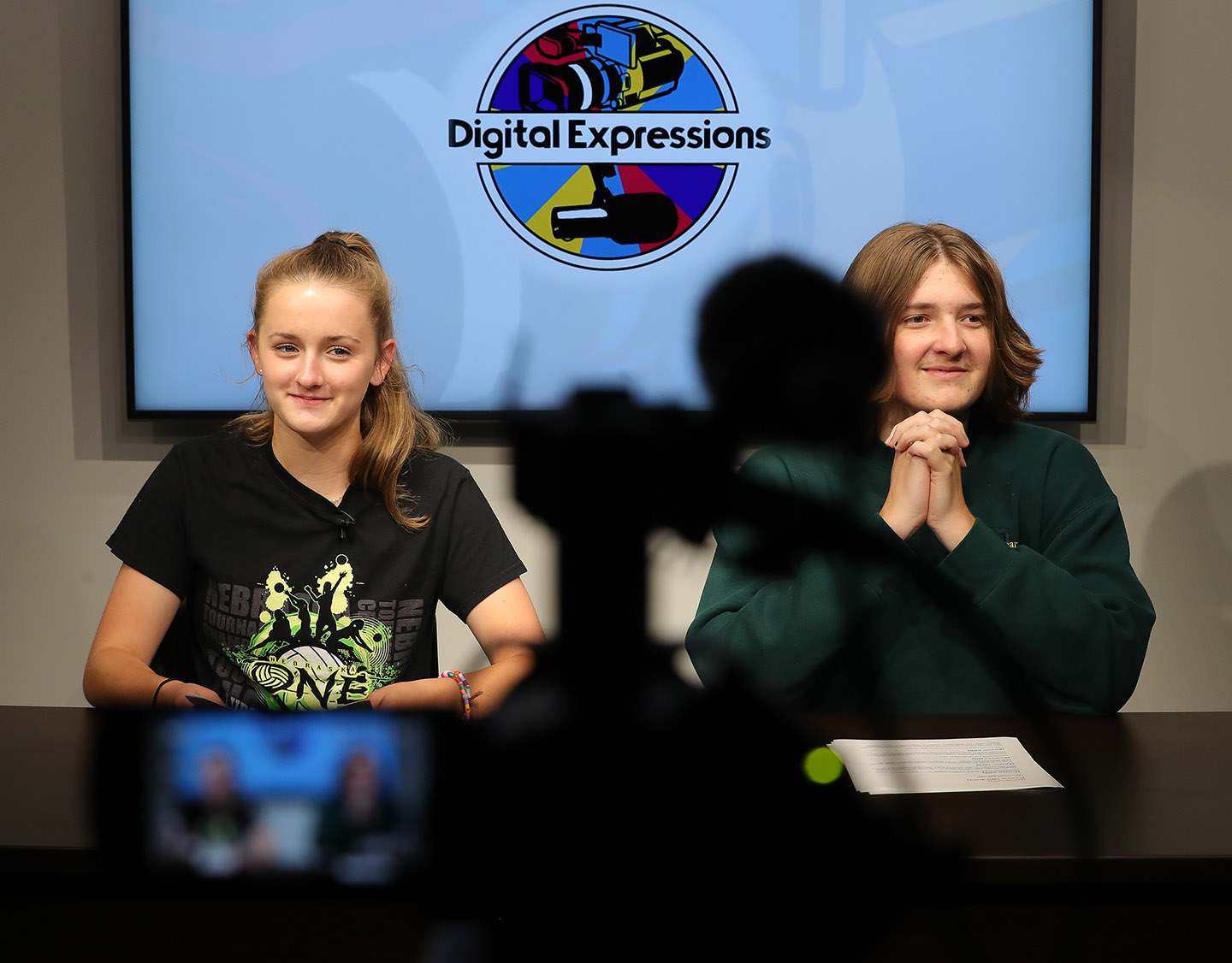 Centura Public Schools senior Faith McDonald, left, and North Platte High School senior Andrew Connelly work on a project in the UNK video studio during the Digital Expressions Media Camp.