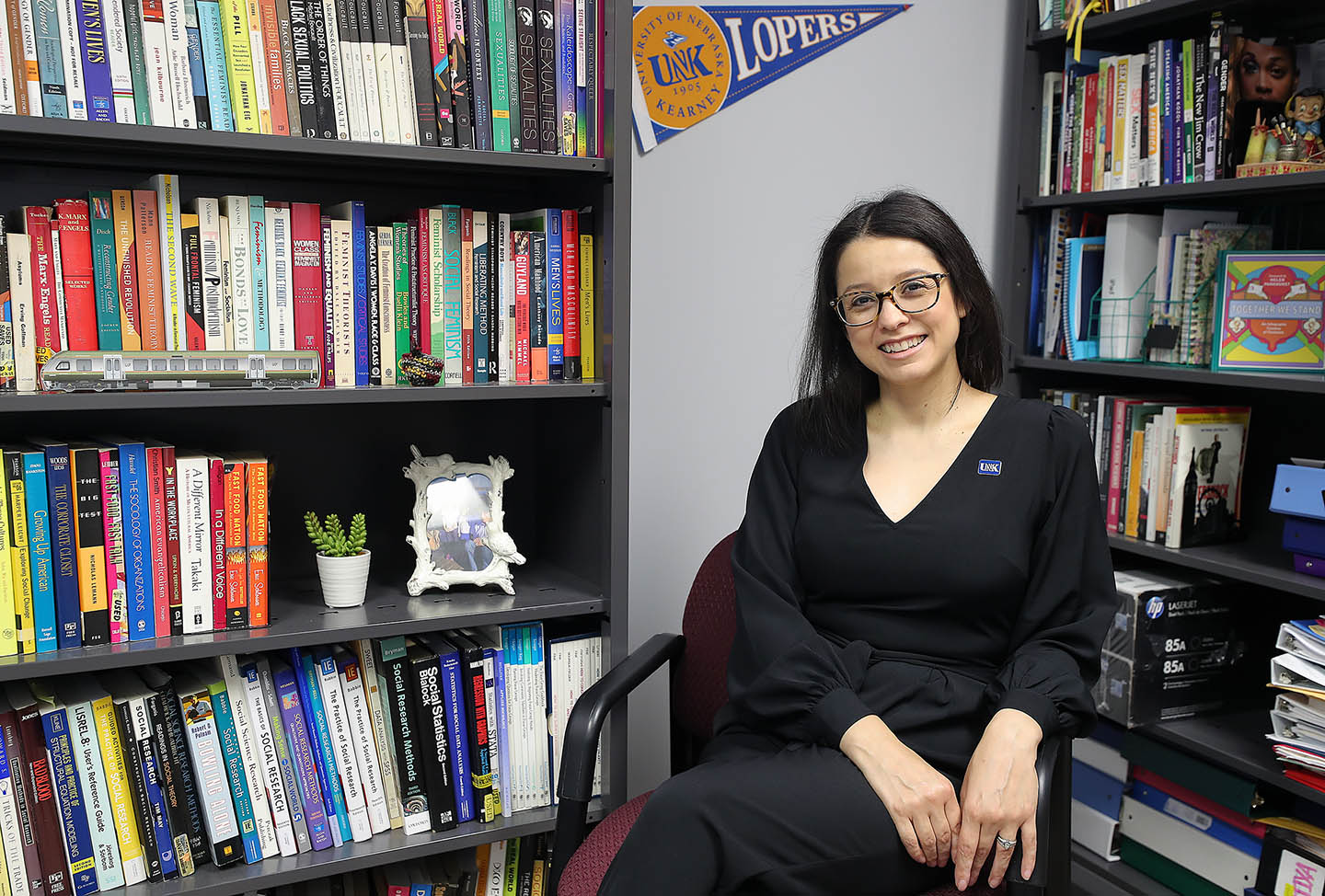 Associate sociology professor Sandra Loughrin is the first female minority to serve as director of UNK's women's, gender and ethnic studies program. She was appointed to the position in March. (Photos by Erika Pritchard, UNK Communications)