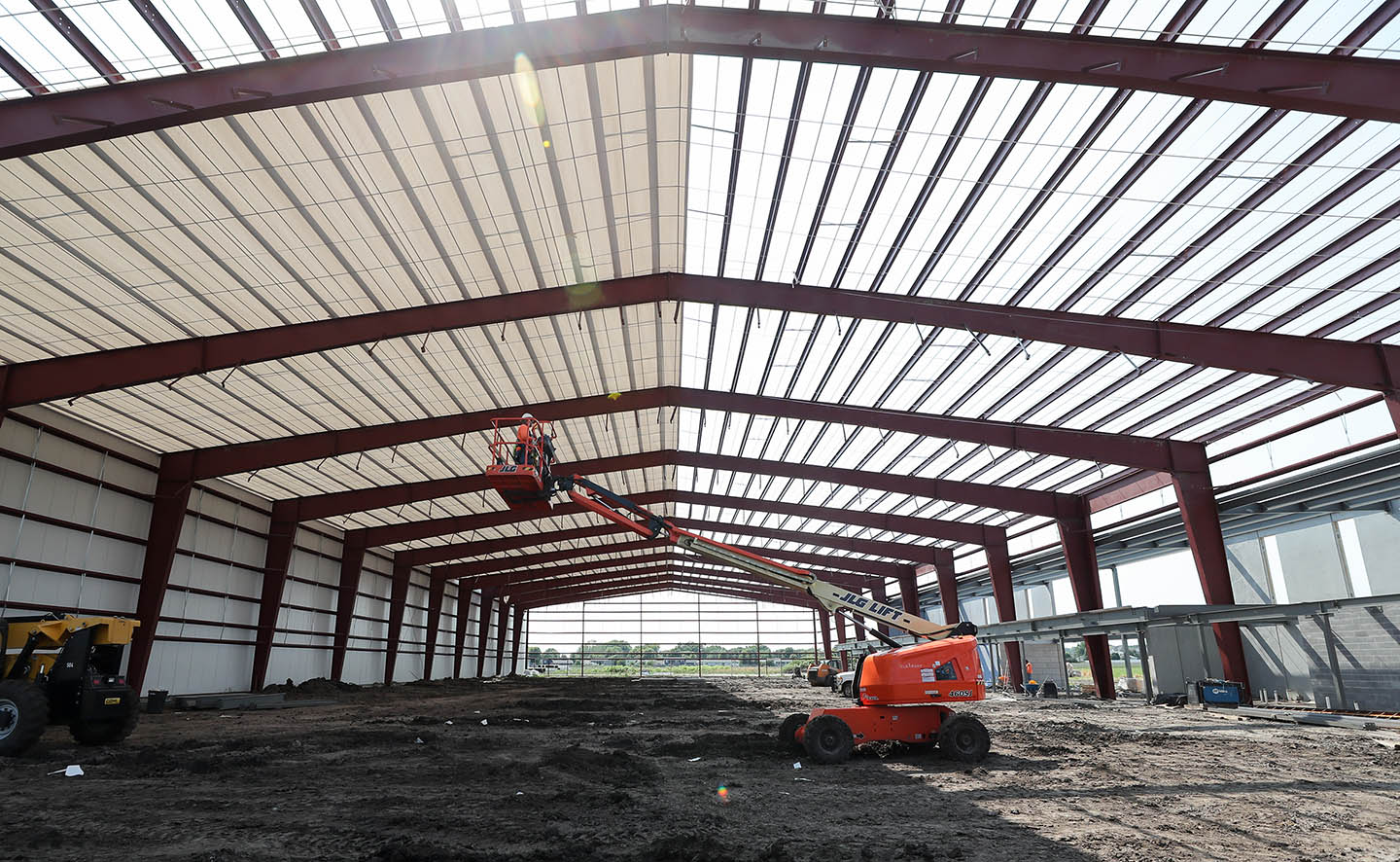 A 62,000-square-foot indoor tennis complex is under construction at UNK's University Village development. (Photos by Erika Pritchard, UNK Communications)