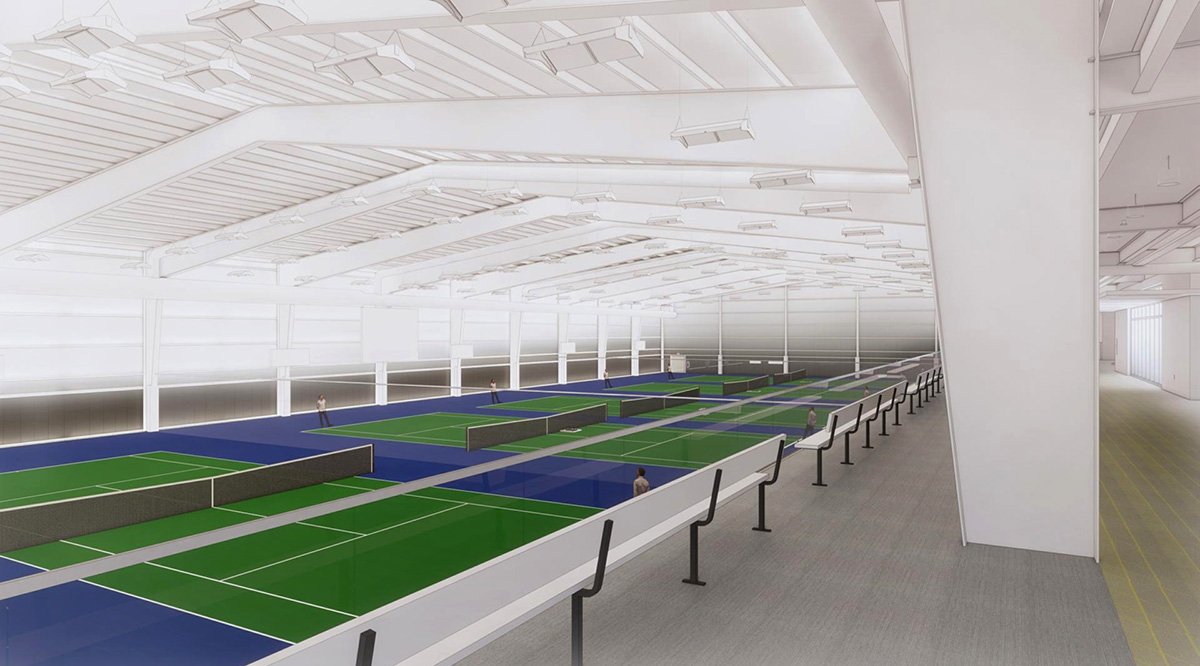 An indoor tennis complex under construction at UNK's University Village development will feature six courts, offices for Kearney Park and Recreation and UNK tennis, locker space, restrooms and an elevated mezzanine area with spectator seating.