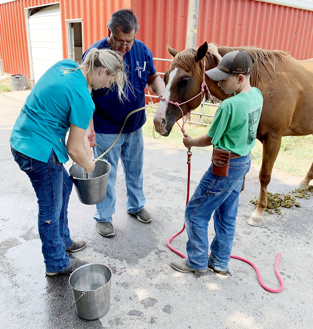 UNK senior Korinne Hansen, left, uses mineral oil to treat a horse that got into cattle feed. She is assisted by Dr. Wayne Watkins, a veterinarian at Red Willow Animal Clinic in McCook, center, and the horse owner's son, Parker Nokes.