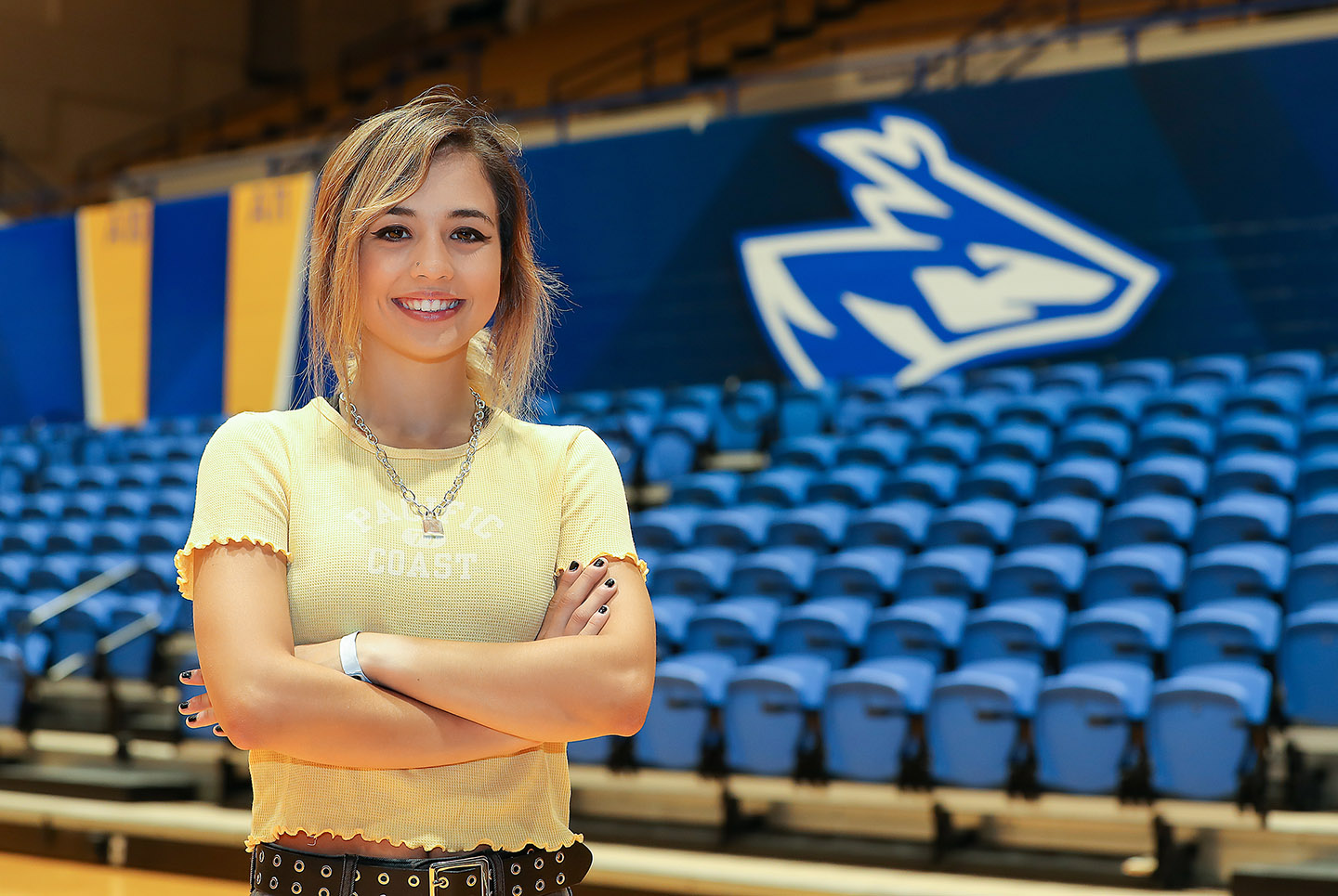 UNK junior Alexis Sander spends a lot of time in the Health and Sports Center, where she broadcasts Loper volleyball and women's basketball games for the campus radio station, KLPR 91.1 FM.