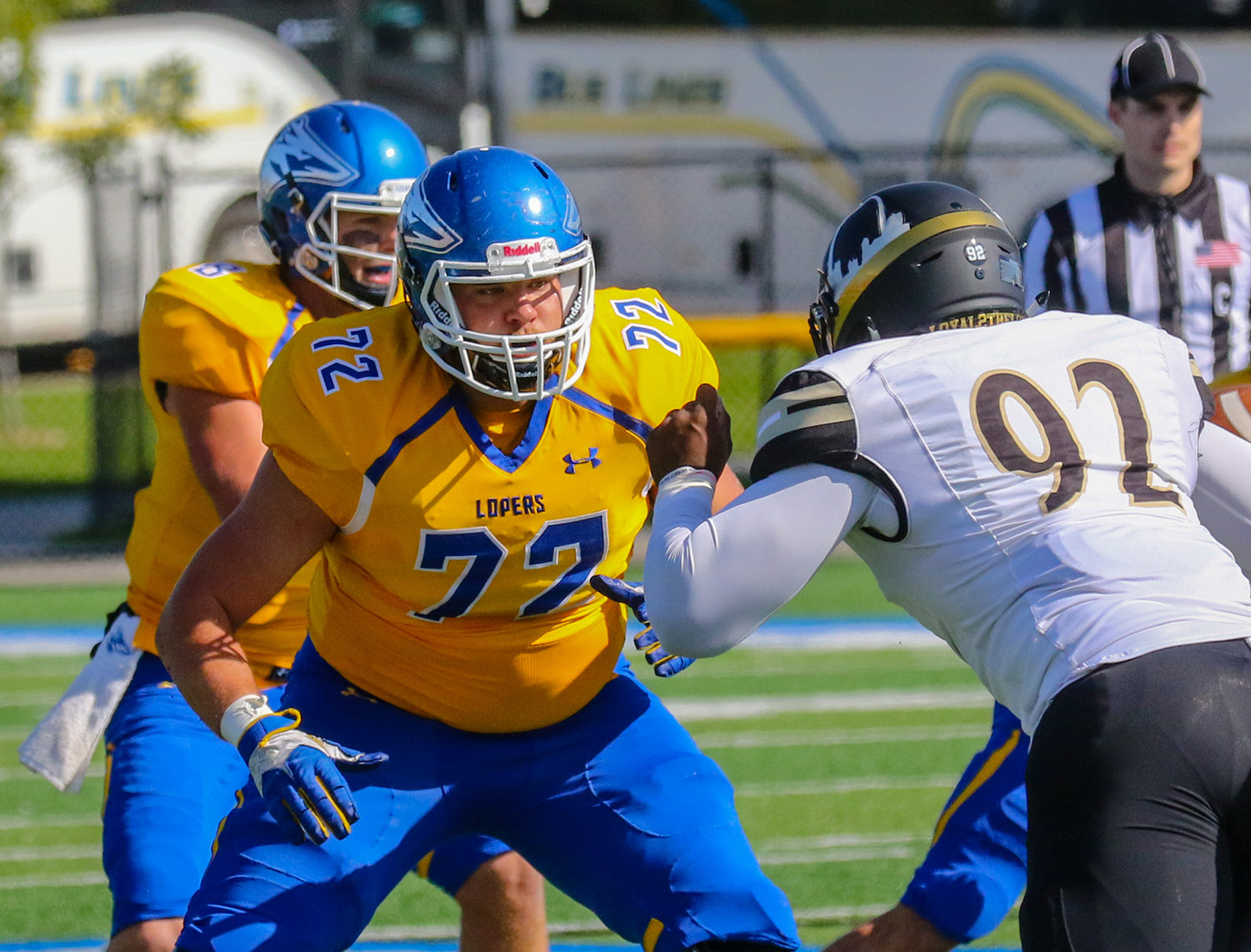 A team co-captain and starter at right tackle, Corey Hoelck is a leader for the UNK offensive line.