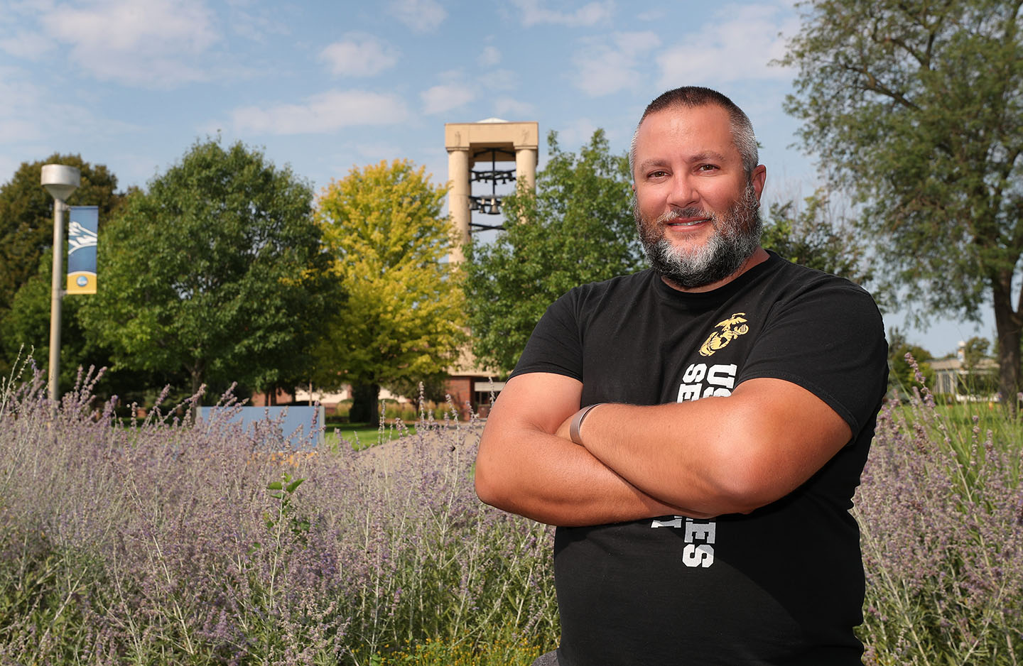 Lance Blythe is president of the Student Veterans Organization at UNK, where he studies geography-GIS with a biology minor. The 39-year-old enlisted in the U.S. Marine Corps following 9/11 and served a total of 11 years in the Marines and Nebraska Army National Guard.