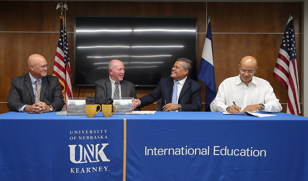 Representatives from UNK and the National University of Engineering (UNI) in Nicaragua sign a partnership agreement Tuesday afternoon in UNK's Nebraskan Student Union. Pictured, from left, are UNK Assistant Vice Chancellor for International Affairs Tim Burkink, UNK Senior Vice Chancellor for Academic and Student Affairs Charlie Bicak, UNI Vice Chancellor Daniel Cuadra Horney and UNI General Secretary Freddy Marin Serrano. (Photos by Erika Pritchard, UNK Communications)