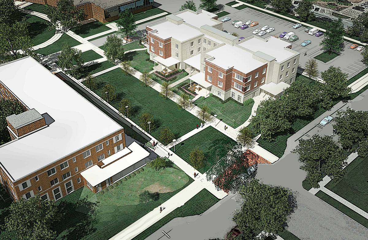 The new Fraternity and Sorority Life housing complex includes a renovated Martin Hall, left, and construction of a new residence hall, right, directly east of the Nebraskan Student Union.