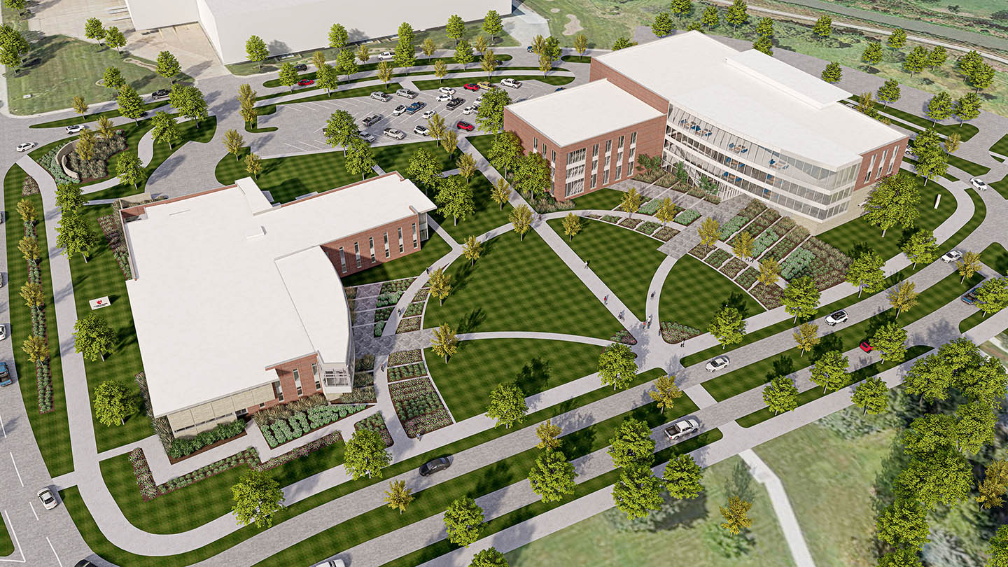 The Rural Health Complex, right, would be built directly north of the existing Health Science Education Complex on UNK's west campus.