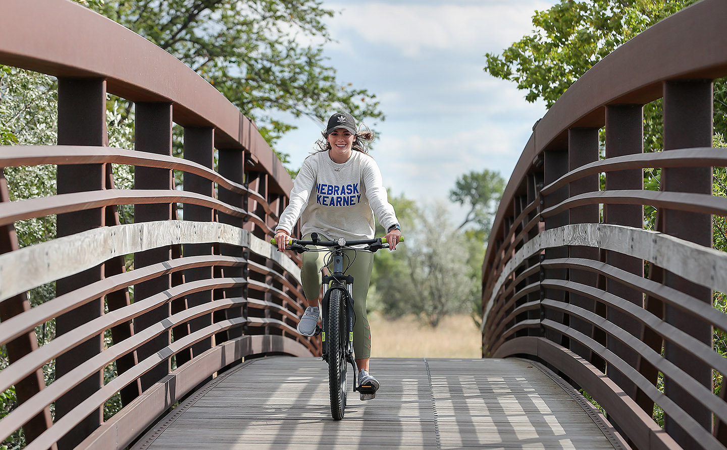 Seneca Hertel, a UNK freshman from South Dakota, really enjoys the parks, bike trails and other outdoor opportunities in the Kearney area.