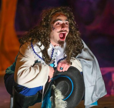 """Connor Dudley of Roca performs a scene from """"The Illusion,"""" which opens its five-day run Wednesday at the University of Nebraska at Kearney. (Photo by Corbey R. Dorsey/UNK Communications)"""