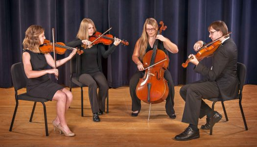 Thornton String Quartet members include, left to right, Madeline Maloley of Omaha, Gina Lieb of Kearney, Alexandra Lieb of Kearney, and Eric Jensen of Bismarck, N.D.