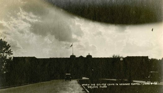 Former UNK employee John Stryker took this image on campus of the solar eclipse on June 8, 1918, the last time the eclipse cross the mainland United States. The image will be among historical pieces on display at the Calvin T. Ryan Library beginning Aug. 19.