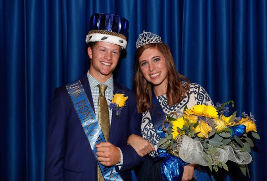 Miranda Ketteler of Petersburg and Logan Krejdl of Aurora were crowned homecoming queen and king Thursday at the University of Nebraska at Kearney. (Photo by Corbey R. Dorsey, UNK Communications)