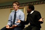 Nicholas Christensen, left, and Daniel Jordan Opere of Omaha Concordia perform in duet acting at Thursday's NSAA State Speech Championships at the University of Nebraska at Kearney. (Photo by Corbey R. Dorsey, UNK Communications)