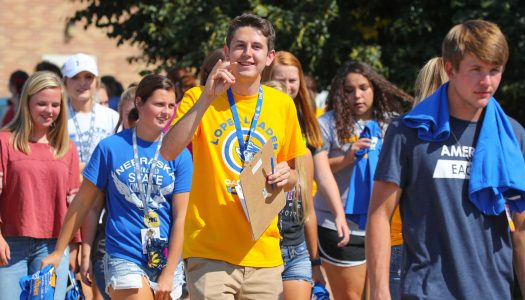 Lopers Leaders at the University of Nebraska at Kearney welcome new students to campus and answer any questions they have about the university. The bulk of their duties occur during the annual Blue Gold Welcome Week in August.